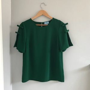 CECE Emerald Green Blouse w/ Bows